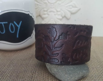 Customize your own Up-Cycled Brown embossed Leather Cuff -QUOTE