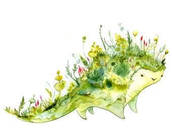 Terra Beast - Oddfauna watercolor print 8.5x11