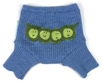 "WOOL SHORTIES - Wool Diaper Cover - ""Sweet Pea"" - X-Small Newborn"