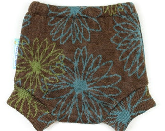 "WOOL SOAKER - Wool Diaper Cover - ""Retro Daises"" - Small 0-9m"