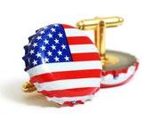 American Flag Bottle Cap Cufflinks Cuff Links USA