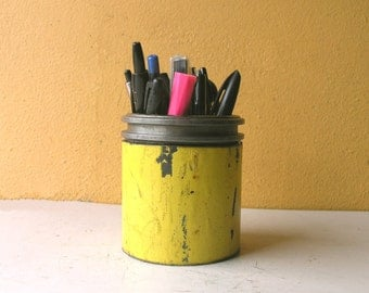 Pencil Holder, Pen Cup, Metal Pencil Cup, Desk Accessory, Coworker Gift, Upcycled Pipe, Industrial Desk Organizer, Yellow Office Decor