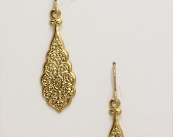 Golden art nouveau earrings on 14k gold filled ear wires