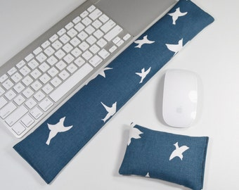 Computer Keyboard Pad and Optional Mouse Wrist Rest Set in Navy Blue and White Birds - Wrist Support
