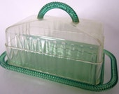 Covered Cheese Butter Dish Bakelite Plastic Green Clear Ribbed Ornate Dome Kitchen Accessory USA Lucite Rare