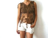 French Vintage Brown Crochet Top