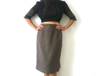 50s Wool Tweed Pencil Skirt