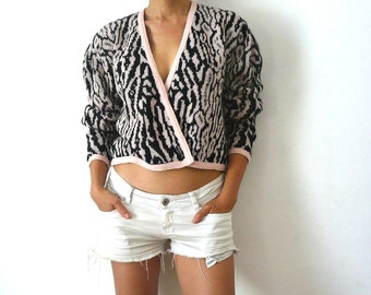 French Vintage 80s Leopard Crop Cardigan