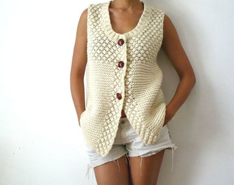 French Vintage Chunky Wool Knit Cardigan / Vest