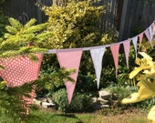 Long pink bunting - 23ft or 7m long wedding bunting, sweet sixteen bunting, large flags