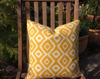 Yellow Cushion Cover, Pillow Cover 16x16 inch or 40x40cm Aztec design.