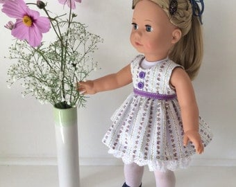 18 inch doll dress and petticoat - floral blue and lavender, fits 18 inch dolls such as Gotz and American Girl
