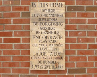 In this house we do sign, personalized family rules sign, wedding gift for couple, Housewarming gift, custom family sign