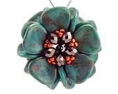 Turquoise, Magnolia Bloom Pendant Kit, Turquoise Bloom, chocolate and orange