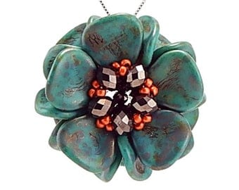 Turquoise, Magnolia Bloom Pendant Kit, Turquoise Bloom, chocolate and orange