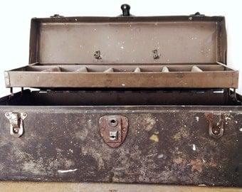 Vintage Metal Tool Box Industrial Decor The Wild Raspberry