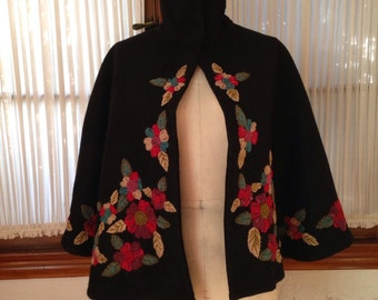 Beautiful vintage black wool cape with lovely hand-embroidered flowers