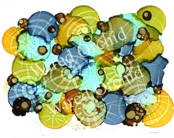 Lime Wheels Laser Copy of Original Alcohol Ink Artwork / Lime Green, Olive Green, Brown, Turquoise, Yellow Pinwheel Design