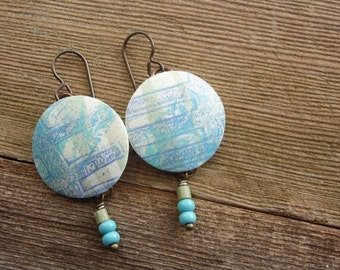 Polymer Clay Lightweight Round Earrings Beach Jewelry featuring Tropical Abstract Grid Design in Teal, Olive and White