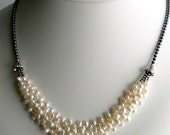 On Sale White Pearl Bib Necklace and Sterling Silver, Multistrand Pearl Cluster Necklace, White Nugget Pearls, Deluxe Gift for Her