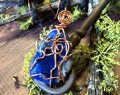 Tumbled LAPIS LAZULI Intuitively Wire Wrapped Crystal Pendant In Naturally Darkening Copper Wire - Metaphysical - Reiki - Chakras - Magick