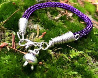VIKING KNIT Wire Wrapped Bracelet With Cauldron Charm - Purple Coated Copper and Silver Finished Copper Wire - 7 3/4 Inches Long - Magic