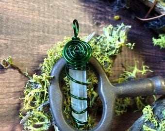 LEMURIAN SEED QUARTZ Crystal Pendant Spiral and Swirl Wire Wrapped In Green Coated Copper - Metaphysical - Healing - Spiritual - Reiki