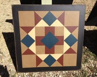 PriMiTiVe Hand-Painted Barn Quilt, Small Frame 2' x 2' - Cross and Diamonds Pattern