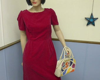Vintage 1980s Red Scarlet Velvet Dress with Short Sleeves Size Small