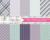 Digital Scrapbook Papers Personal and Commercial Use Purple and Blue Green Medley