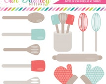 Kitchen Clipart Commercial Use Graphics Blue and Red Cooking Utensils Clip Art