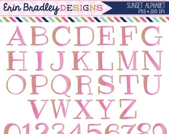 60% OFF SALE Sunset Alphabet Clipart Instant Download Commercial Use Alpha Clip Art for Digital Scrapbooking
