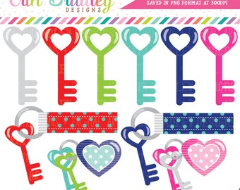 Key Clipart New Home or Moving Digital Clip Art Graphics Heart Keys and Keychains Personal & Commercial Use