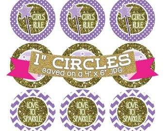 Purple Princess Crowns Digital Collage Sheet Bottlecap Images Gold Glitter Instant Download Bottle Cap Graphics One Inch Circle