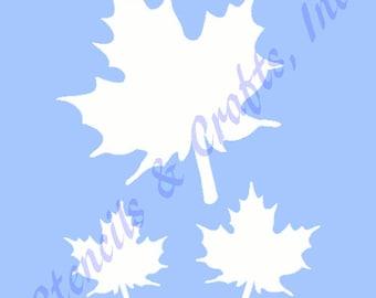 "MAPLE LEAF STENCIL stencils template leaves templates craft pattern scrapbook paint background pochoir new 6"" X 5"""