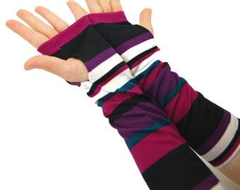 Arm Warmers in Bold Purple Green Magenta and Black Stripes - Sleeves - Fingerless Gloves