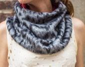 Encircle cowl neck wear scarf in Animal, medium and dark grey alpaca with red lining