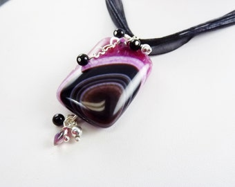 Statement Necklace, Banded Agate Necklace Earrings, Pink, Black Brown, Heart Chain, Artisan Jewelry