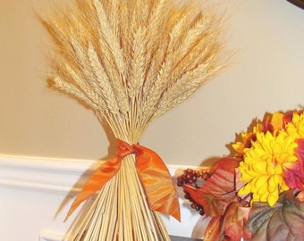 FALL WREATH SALE Fall Decor- Thanksgiving Decoration- Thanksgiving Centerpiece Wheat Sheaf With Ribbon- Mantle Decoration- Fall Decoration-