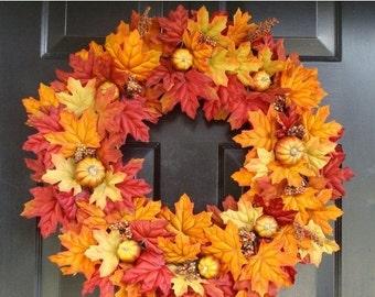 FALL WREATH SALE Thanksgiving Fall Wreath- Pumpkin Pie Thanksgiving Wreath Decor- Fall Wreaths- Autumn Wreaths  Limited Quantity