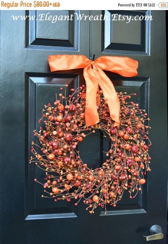 New Berry Fall Wreath Thanksgiving Decor Pumpkin Fall Wreaths Fall Monogram Wreath, Hostess Gift - Pumpkin, Xxl 19-22 inch