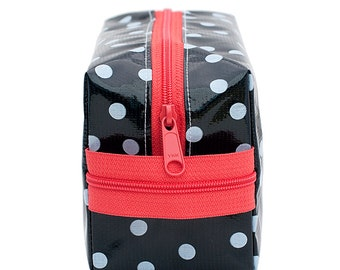 Oilcloth Makeup Bag Cosmetic Case Polka Dot Medium