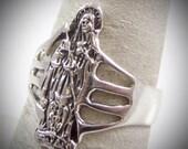 Sale- SANTA MUERTE Vintage 925 Sterling Silver Ring - Size 6 - 3.2g