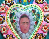 """Stunning 7.5""""  Day of the Dead Frida Diego Rivera Hand Painted Large Milagro- Perfect for your Loved One"""