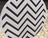 LETTERPRESS COASTERS : Black & White Chevron Pattern (Set of 6)