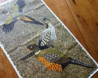 Lois Long Towel, 1960s Lois Long Pheasant Towel, NOS Linen Towel, Autumn Pheasant Towel, FREE  SHIPPING with 2 Towels