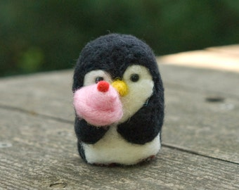 Needle Felted Penguin - Hungry for Ice Cream