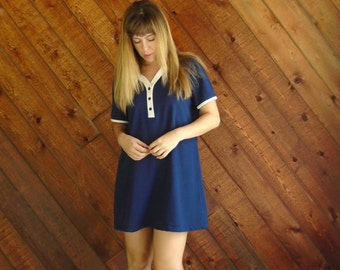 Navy Mini Knit Mod Shirt Dress - Vintage 70s - MEDIUM