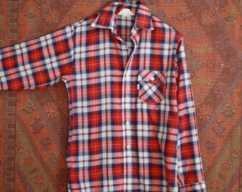 70s Levis Perfect Plaid Red White Blue AMERICAN LS Button Down Shirt - SMALL S Medium M