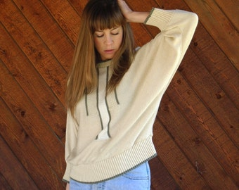 Slouchy Geo Batwing Sweater in Cream and Grey - Vintage 80s - M L